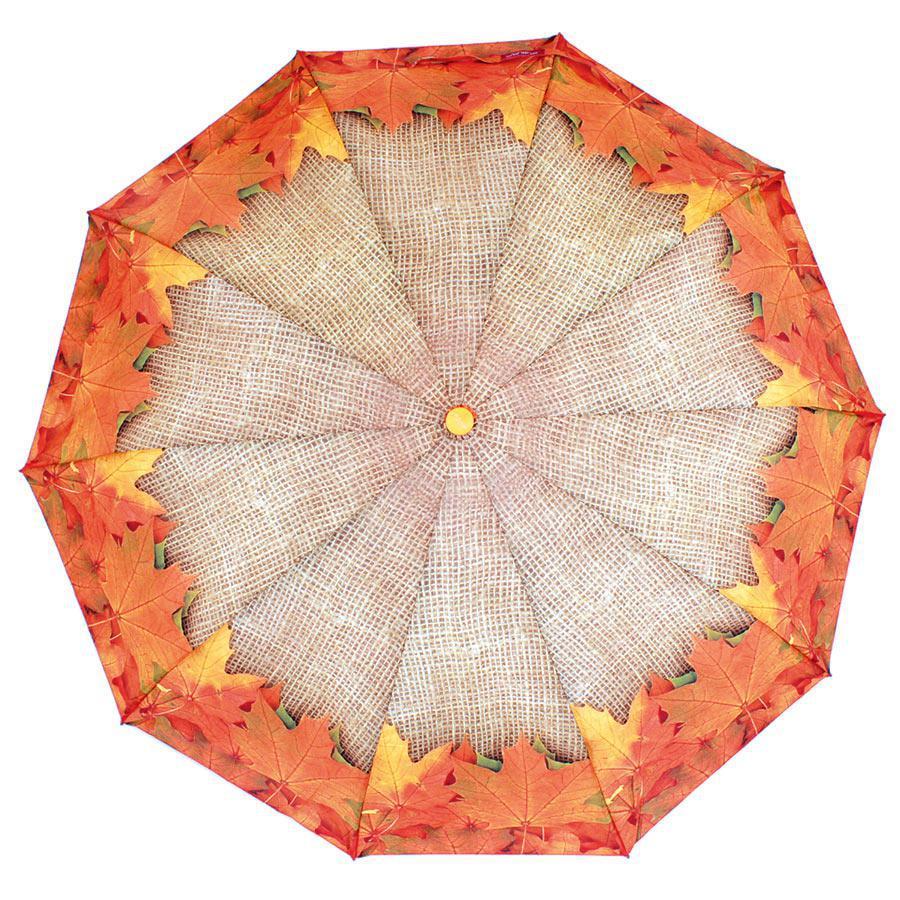 Зонт складной полуавтомат Оранжевый с листьями