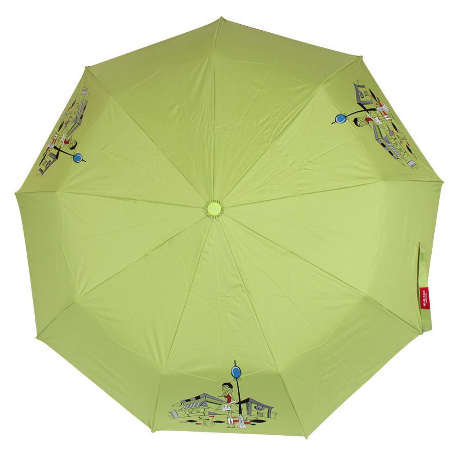 Зонт складной полуавтомат Зеленый с девушкой