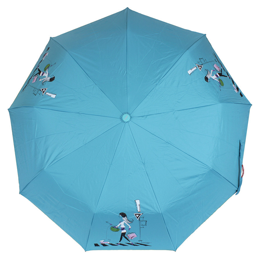 Зонт складной полуавтомат Голубой shopping