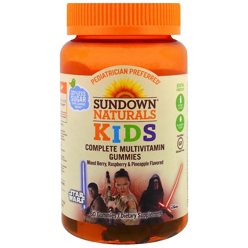 Sundown Naturals, Детские жевательные мультивитамины, Звездные войны, со вкусом ягод, малины и ананаса, 60 штук
