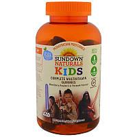 Sundown Naturals, Дети, полные мультивитаминные жевательные мармеладки, Звездные войны Диснея, ягодная смесь, малина и ананас, 180 жевательных