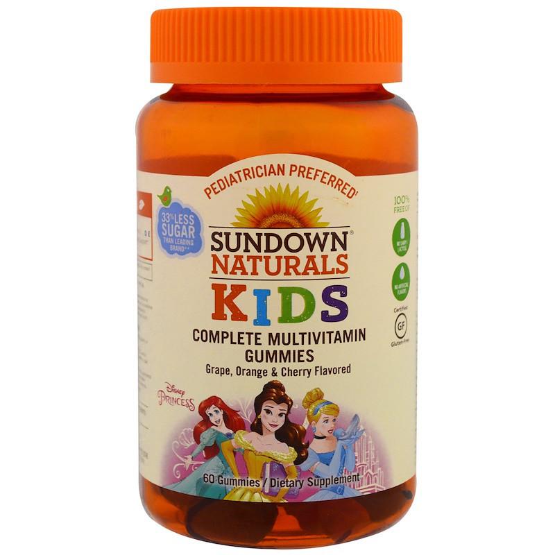Sundown Naturals, Детские жевательные мультивитамины, Диснеевские принцессы, со вкусом винограда, апельсина и вишни, 60 штук