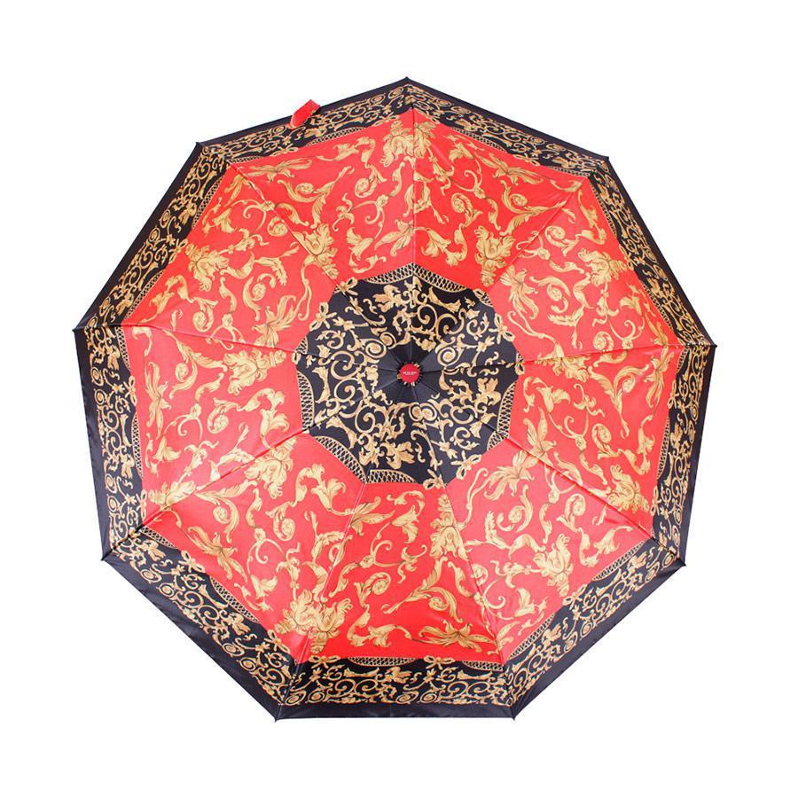 Зонт складной  автомат Красно-черный