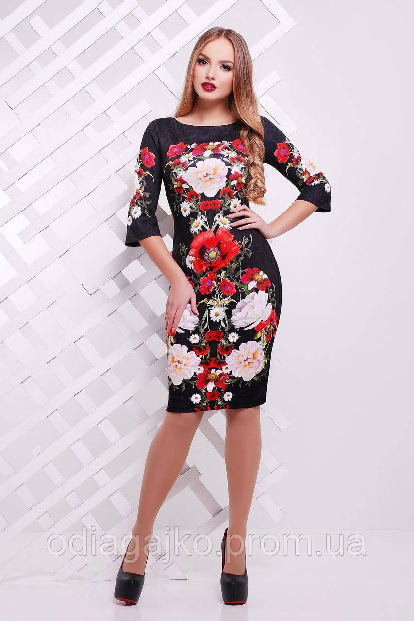 bebf15e9d914 Женское нарядное облегающее черное платье ЛОЯ-3Ф с маками под вишивку 44,46,