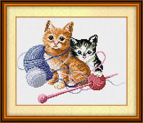 """Алмазная вышивка 31х25 набор """"Игривые котята"""""""