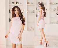Платье летнее хлопчатобумажное (прошва), подклада трикотаж 42-46 розовый, 44