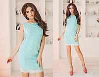 Платье летнее хлопчатобумажное (прошва), подклада трикотаж 42-46 бирюза, 42