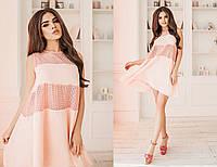 Платье летнее хлопчатобумажное (прошва), креп-шифон, 42-46 розовый, 44