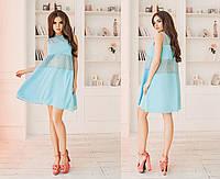 Платье летнее хлопчатобумажное (прошва), креп-шифон, 42-46 бирюза, 46