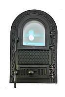 """Дверка спаренная чугунная стекло  """"Водолей - ЯП""""  545*325 мм черная"""