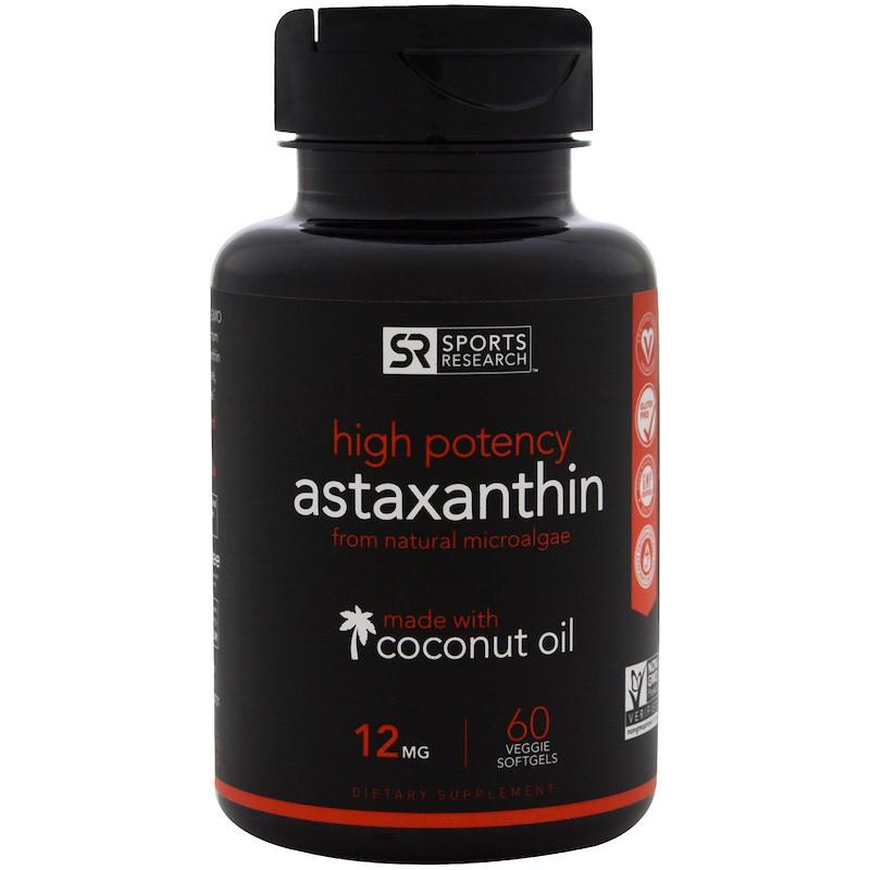 Sports Research, Сильнодействующий астаксантин, 12 мг, 60 мягких капсул в растительной оболочке с жидкостью