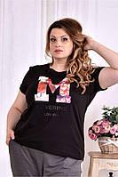 Черная футболка с надписью (ПРИНТ НА ВЫБОР) 0562-1 (турецкий трикотаж)