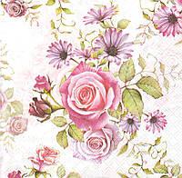 Салфетка для декупажа Розы с другими цветами 7503