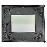 """Дверка чугунная большая стекло """"Центролит"""" 454*385 мм (вес -15 кг)"""