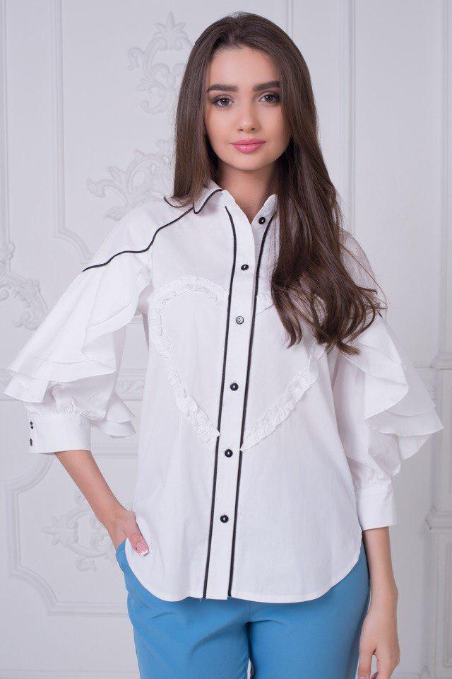 8140cd848c3 Женская белая блузка с пышными рукавами   продажа