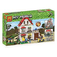 Конструктор по мотивам игры Майнкрафт(Minecraft)строение - дом 3 в 1, фигурки, свет, 738деталей, 33077