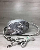 Серебристая маленькая сумка 60209 на пояс с пайетками через плечо, фото 1