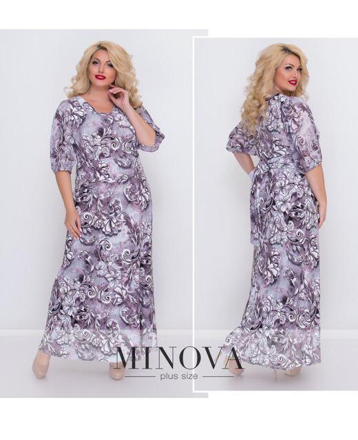 Нарядное приталенное платье с цветочным принтом ТМ Минова р.50-56