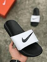 Резиновые тапочки Nike Air черно-белые(копия)