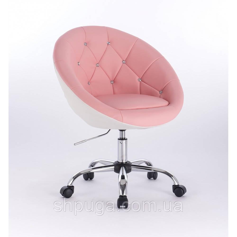Парикмахерское кресло HC-8516 розово-белое стразы