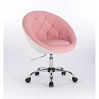 Парикмахерское кресло HC-8516 розово-белое стразы, фото 1