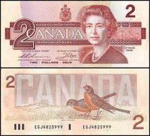 Канада / Canada 2 Dollars 1986 Pick 94b UNC
