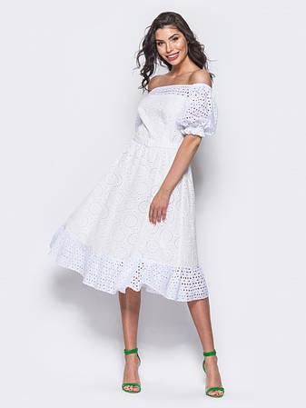b23ae96f00ba72 Стильне плаття з двох видів прошви з відкритими плечима розмір 44,46,48,