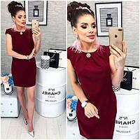 Платье с брошью , модель 819, цвет Бордовый
