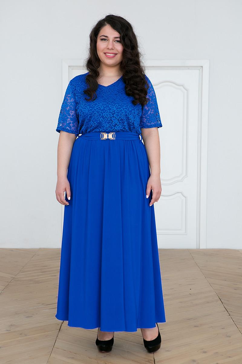 d9ccb31559f Нарядное платье больших размеров Алана электрик (56-60) - DS Moda - женская
