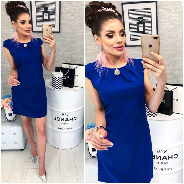 Платье с брошью , модель 819, цвет Электрик