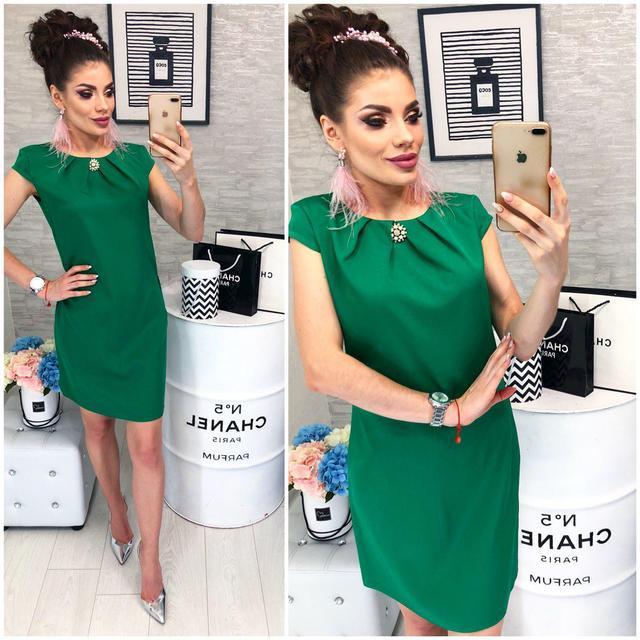 Платье с брошью , модель 819, цвет Зеленый