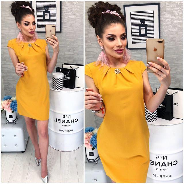 Платье с брошью , модель 819, цвет Горчичный