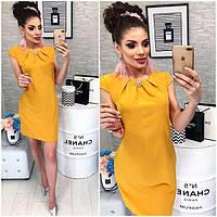 Платье с брошью , модель 819, цвет Горчичный, фото 1