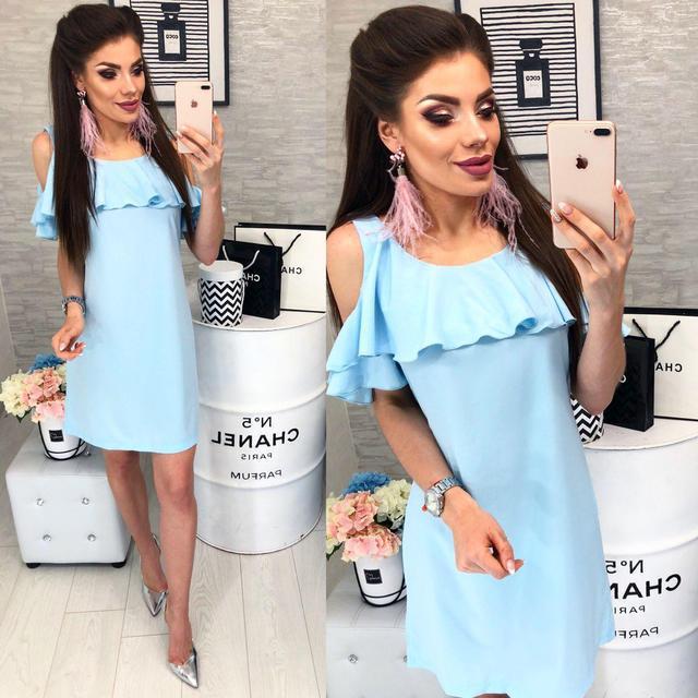 Платье с воланом, модель 820, цвет Светло-голубой