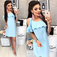Платье с воланом, модель 820, цвет Светло-голубой, фото 1