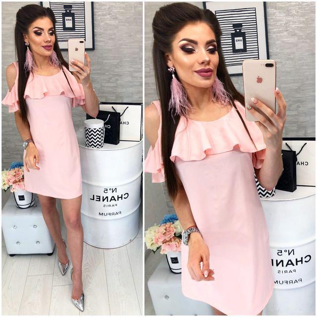 Платье с воланом, модель 820, цвет Нежно-розовый