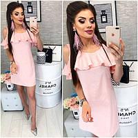 Платье с воланом, модель 820, цвет Нежно-розовый, фото 1
