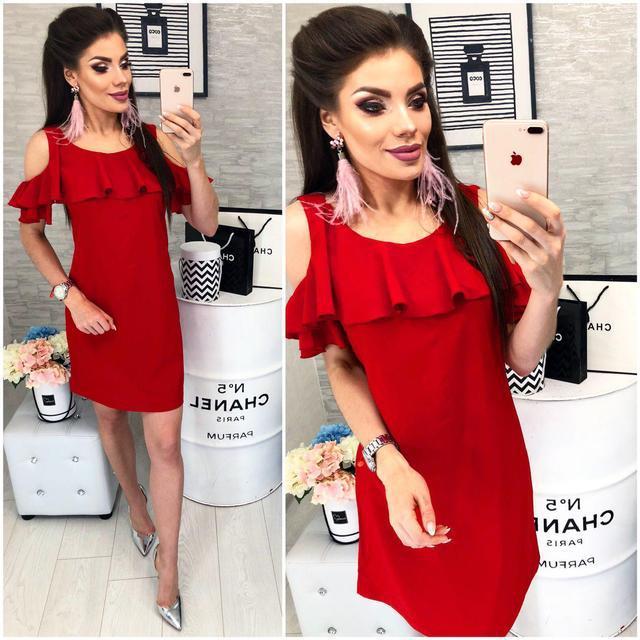 Платье с воланом, модель 820, цвет Красный