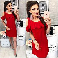 Платье с воланом, модель 820, цвет Красный, фото 1