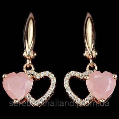 Серебряные позолоченные серьги 925 пробы с натуральным розовым опалом