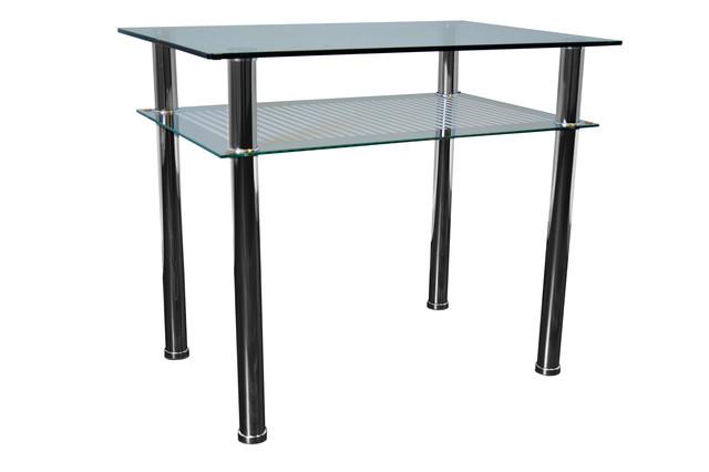 Стол обеденный С-2 Хром закалённое стекло (900х600х750).
