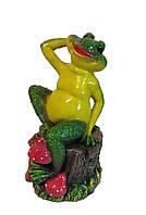 Садовая фигура Лягушка на пне 35 см