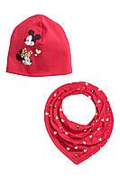 """Детская шапочка и шарфик для девочки """"Минни Маус""""   6-12,  12-24 месяца"""