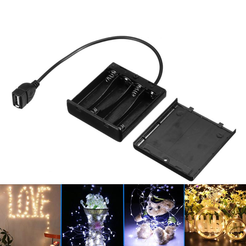 DC5V 4 * AA Батарея Коробка Держатель Чехол USB-блок питания для LED Газовый свет 1TopShop