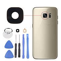 Черный Задний камера Стеклянный клей Объектив Обложка + Набор для Samsung Galaxy S7 Edge - 1TopShop