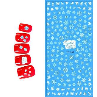 KATTi Наклейки водные - YE 387 белые снежинки (новый год), фото 2