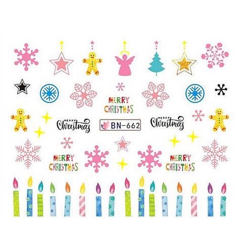 KATTi Наклейки водные - BN 662 - снежинки цветные (новый год), фото 2