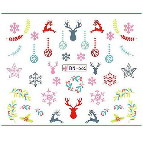 KATTi Наклейки водные - BN 665 - снежинки цветные (новый год), фото 2
