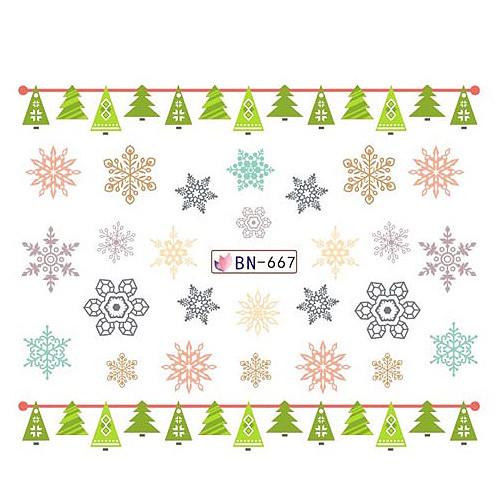 KATTi Наклейки водные - BN 667 - снежинки цветные (новый год)