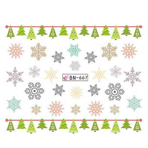 KATTi Наклейки водные - BN 667 - снежинки цветные (новый год), фото 2